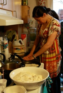 Alizah making mufleta at her Mimouna