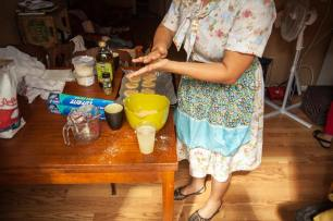 Rebecca whips up another batch of Massafan cookies. Photo by Toby Andris Cayouette