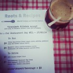chocolate egg cream with menu. photo by Roots & Recipes