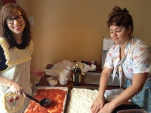 Kat and Rebecca from Roots & Recipes prepare 2 of many pizza napoletanas. photo by Roots & Recipes
