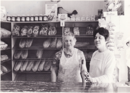 Mary Monaco with her mother working the bakery storefront